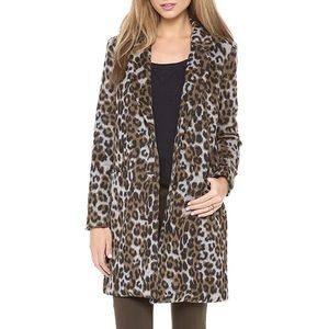 BB Dakota Hazel Leopard Coat Brushed Felt Long